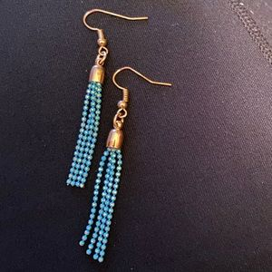 ⚡️Gold tone, teal tassel earrings